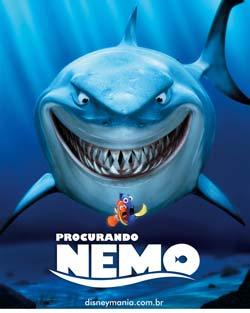 Cartaz do filme procurando nemo. Tubarão atrás de dois peixinhos