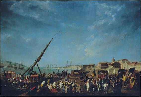 Embarque da Família Real Portuguesa por Nicolas Louis Albert Delerive