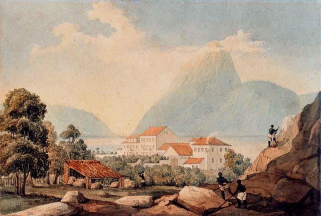 Vista do Pão de Açúcar por volta de 1820. Por Henry Chamberlain